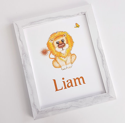 Baby Lion Personalised Nursery Art