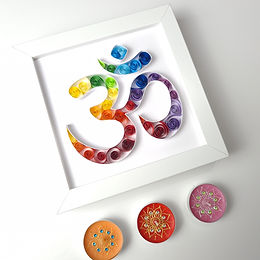Aum (OM) Symbol Colourful Quilled Frame with Candles