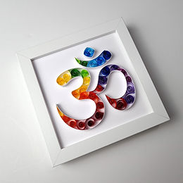 Aum (OM) Symbol Colourful Quilled Frame
