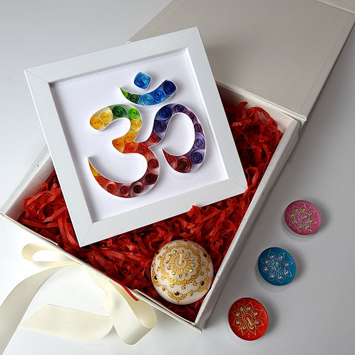 Aum (OM) Symbol Colourful Quilled Frame - Standard Bundle