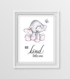 Baby Elephant Motivational Nursery Art