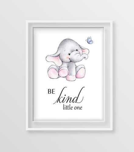 Baby Elephant Motivational Nursery Art