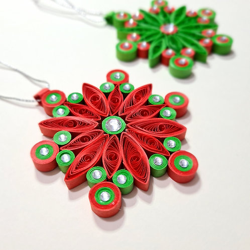 Quilled Paper Snowflakes - Tree Ornament - Traditional - 3 Pack