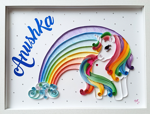Rainbow Unicorn Quilled Wall Art