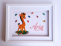 Giraffe Quilled Wall Art with Name