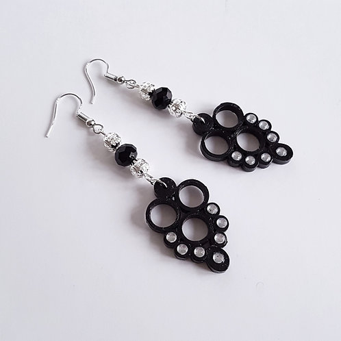 Quilled Earrings - Paper Quilling Triple Ring Black
