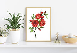 Bunch of Roses Paper Quilled Wall Art