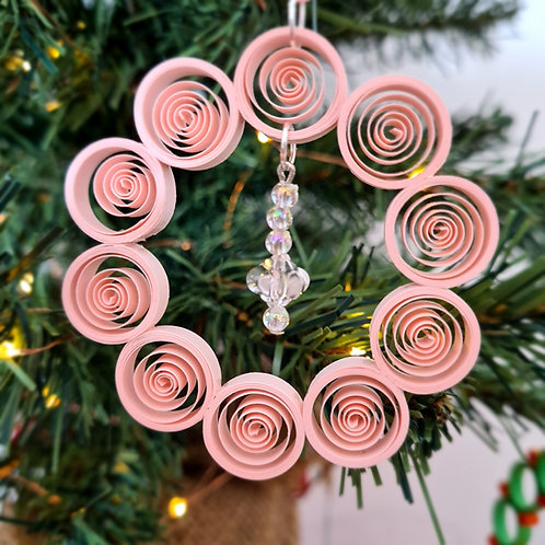 Quilled Paper Wreath Tree Ornament with Bead Dangle
