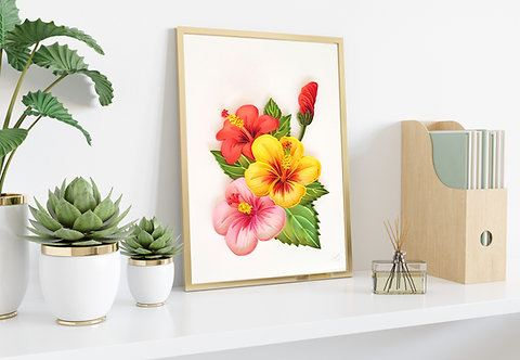 Bunch of Colourful Hibiscus Quilled Wall Art