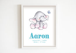 Baby Elephant Personalised Nursery Art