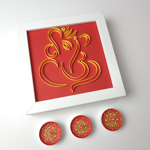 Ganesh Quilled Frame - with Candles