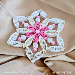 Delicate Quilled Pink Paper Snowflake - Tree Ornament