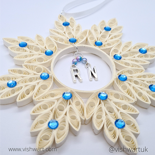 Personalised Quilled Snowflake with beaded dangling letters