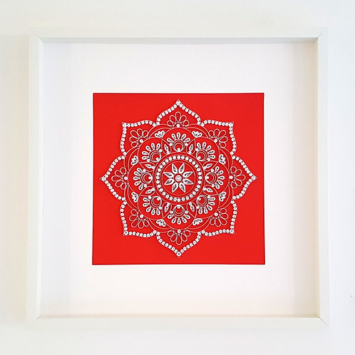 Red Quilled Mandala Wall Art