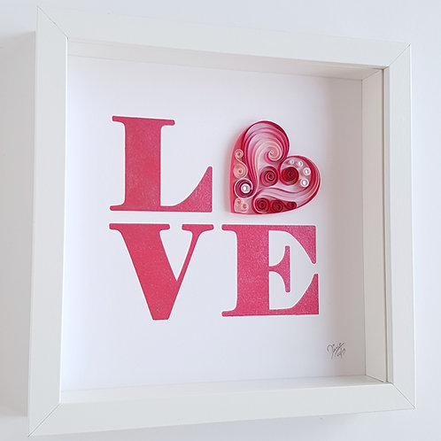LOVE Wall Art Paper Quilled