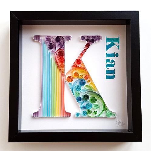 Rainbow Monogram - K Quilled Wall Art