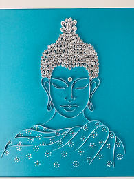 Buddha Paper Quilled Wall Art - Blue