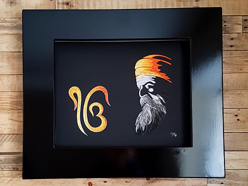 Guru Nanak DevJi with Ik Onkar Quilled Wall Art with Lighting