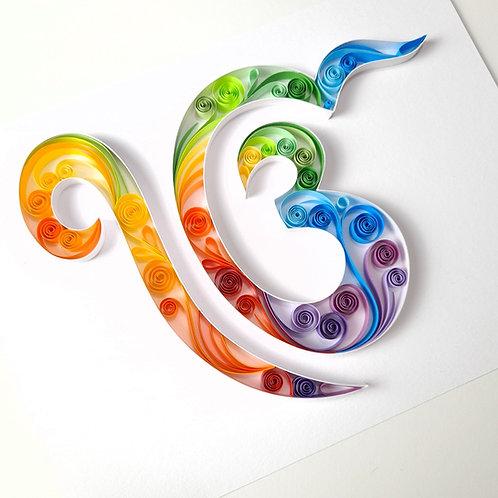 Ik Onkar Symbol Colourful Quilled Frame