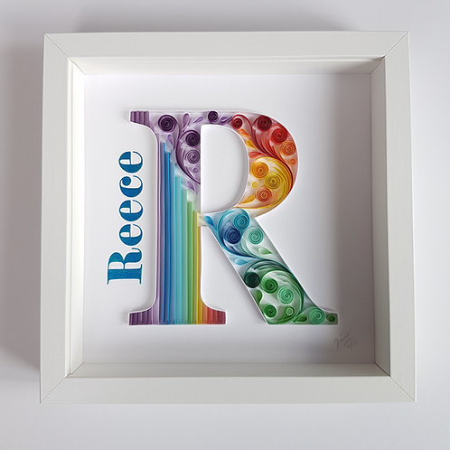 Rainbow Monogram - R Quilled Wall Art