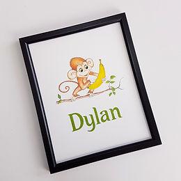 Baby Monkey Personalised Nursery Art