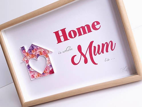 Home Is Where Mum Is Quilled Wall Art
