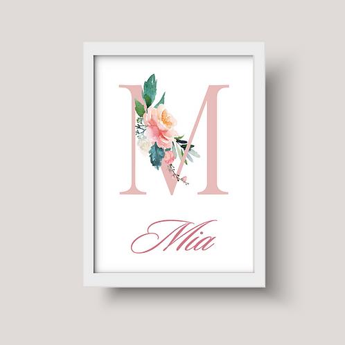 Watercolour Floral Letter Nursery Art - Personalised