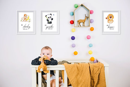 Baby Animals Motivational Nursery Art - Set of 3 Prints