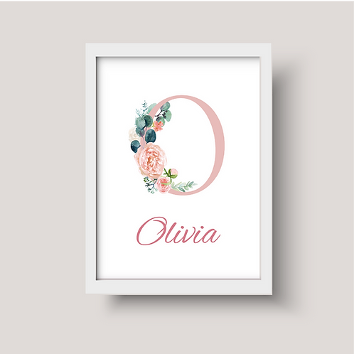 Watercolour Floral Letter Nursery Art - Personalised