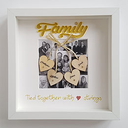 Family Photo Collage Quilled Frame with Name Hearts