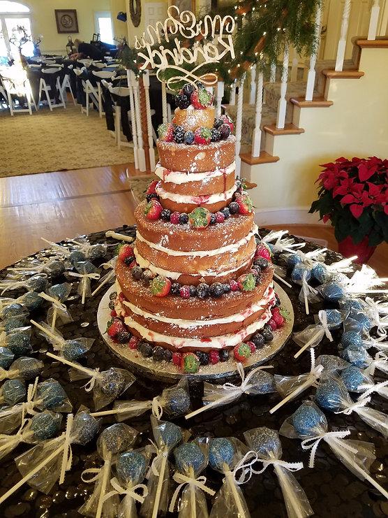 Large Wedding Cake with Raspberry Glaze.