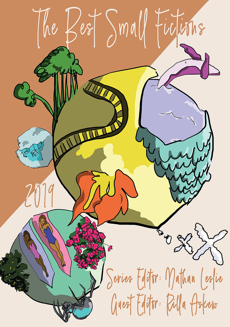 Illustrated cover with planet, satellite, dolphin jumping, colorful mountains and landforms.