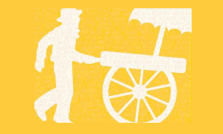 White illustration of a person in a hat pushing a cart on a yellow background.