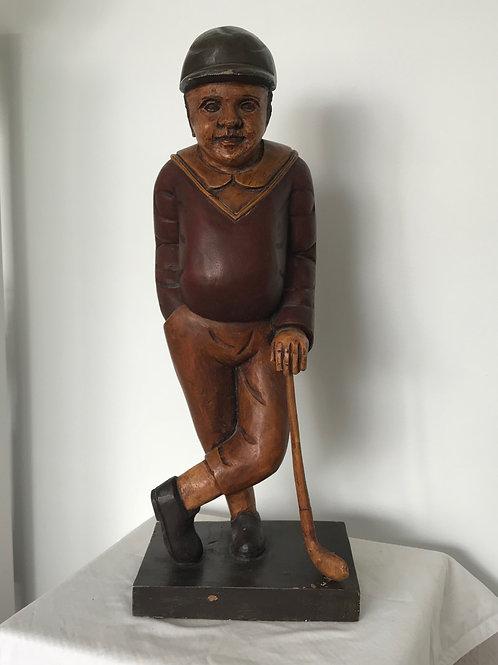Mid Century Hand carved Wooden Golfer