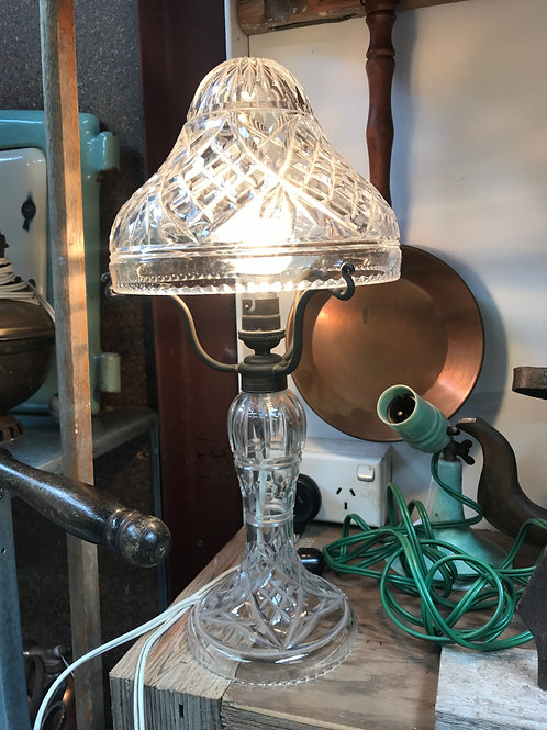 Early 20th Century Crystal and Brass Mushroom Table lamp