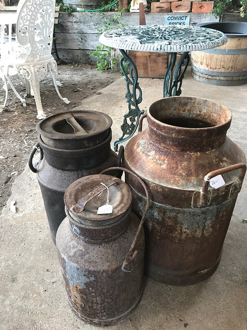 Antique and Vintage Milk Cans (assorted prices)