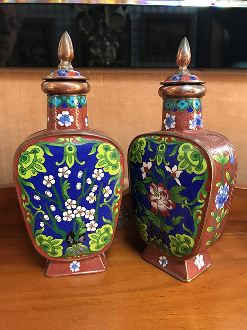 Pair of Vintage Cloissone Lidded Bottles