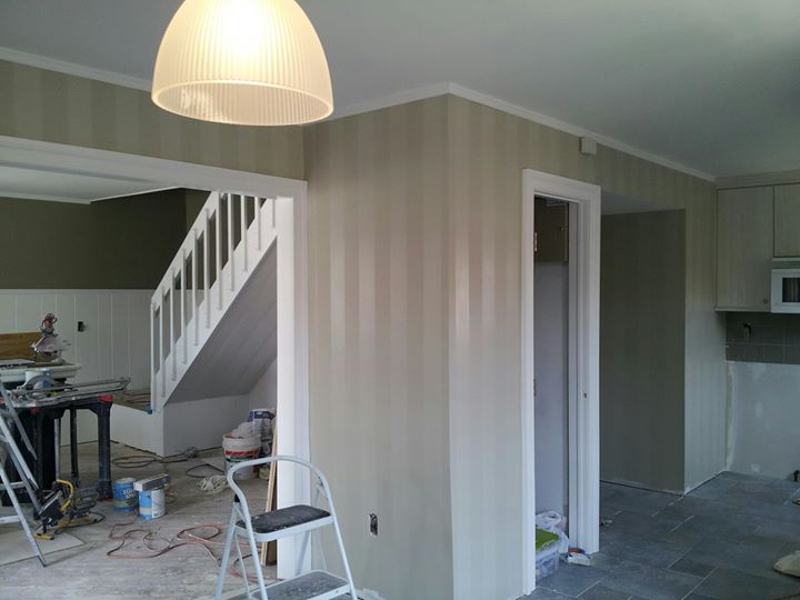 Shadow Striping. Ben Moore's Gray Mirage, two different finishes. The adjacent room was painted in D