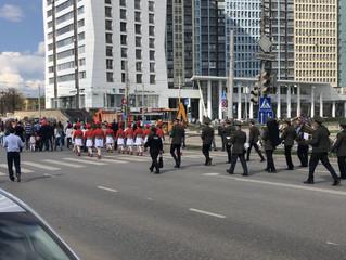 Сопровождение колонны шествия
