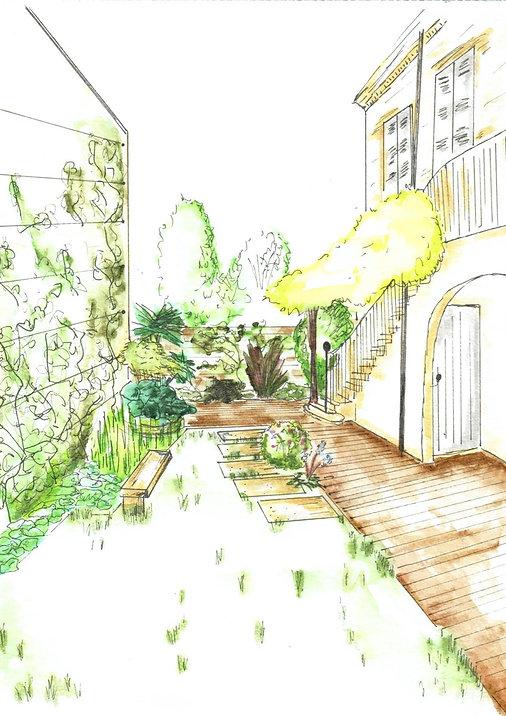 Croquis d'ambiance présentant la transformation d'un espace vert existant en jardin exotique