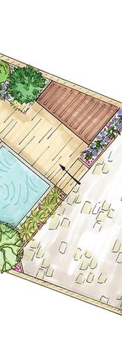 Aménagement d'une cour avec implantation d'une mini piscine