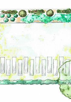 Plan d'un projet de jardin zen structuré dans le centre de Bordeaux