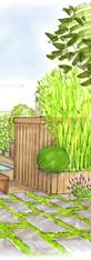 Jardin bucolique avec volume