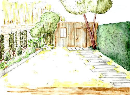 Aquarelle d'ambiance d'un jardin épuré en centre ville avec pas japonais et mur de jasmin