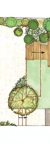 plan d'aménagement d'un jardin avec implantation d'un espace spa