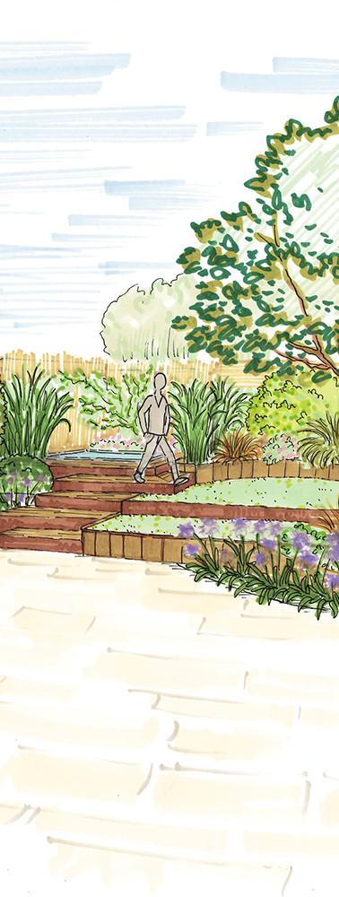 Croquis d'aménagement d'un jardin avec implantation d'une nouvelle terrasse