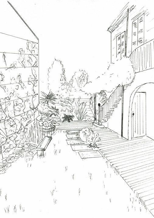 Croquis d'un jardin de ville exotique dessiné par un paysagiste bordelais