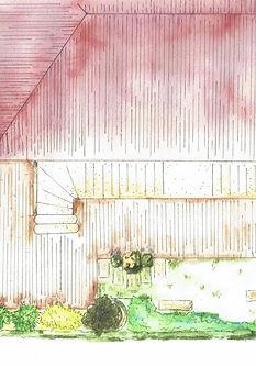 Plan à l'aquarelle d'un jardin tout en longueur transformé en jardin exotique