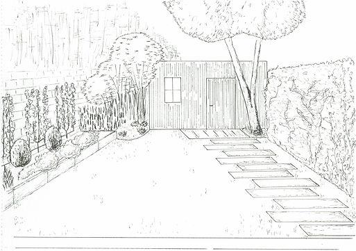 Croquis d'un projet de jardin épuré réalisé pa Arnaud Pelletier paysagiste jardins urbains