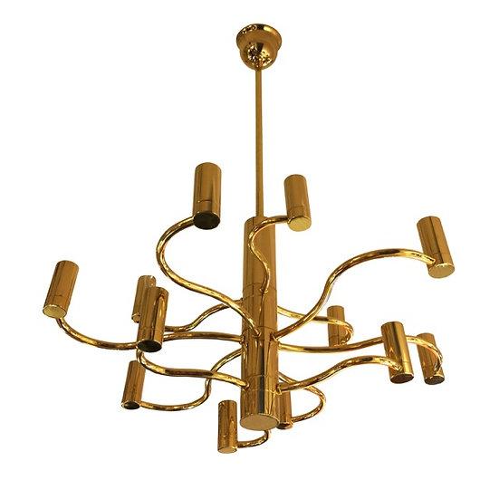 MidCentury Brass Chandelier